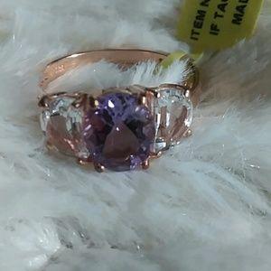 Amnethist Rose Gold Sterling Silver Ring